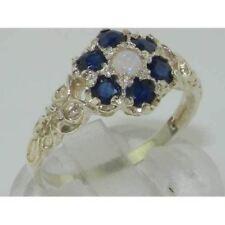 10ct Oro Bianco Naturale Opale & Zaffiro Anello Donna Vintage DAISY-Dimensioni J a Z