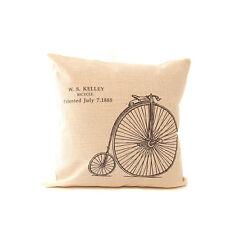 """Bicicleta De Impresión Color Lino Funda De Almohada de arpillera 18 """"x18"""" Tapiz Vintage"""