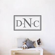 Custom Monogram Wall Decal Personal Initials Wallpaper Name Removable Vinyl, b43
