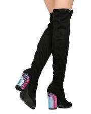 New Women Qupid Ranker-09 Faux Suede Over The Knee Lucite Block Heel Boot