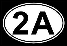 (x2) Oval 2nd Amendment decal sticker .40 .45 9mm .223 5.56
