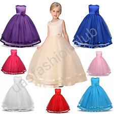 Flower Girl Tulle Birthday Wedding Bridesmaid Kids Pageant Recite Formal Dresses