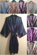 10 Colours Womens Satin Kimono Dressing Gown/Robe UK Sizes 8-22