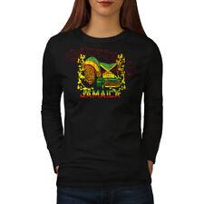 Giamaica RASTA mobile Donne Manica lunga T-shirt Nuove | wellcoda