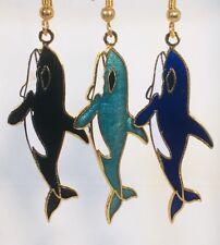 Whale Orca Dangle Earrings Stefano Handmade Vintage (new) Cloisonne Gold Plate