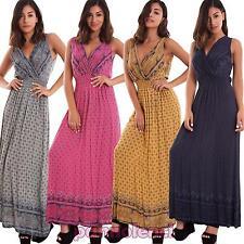 Vestito donna abito lungo leggero scollo V cachemire boho gipsy nuovo AS-5734