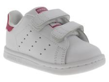Scarpe Adidas Stan Smith bambina bianco e fucsia in pelle tre strappi 2-6 anni
