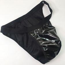 K527V Black PVC Mens String Bikini Contoured Pouch Tanga Back