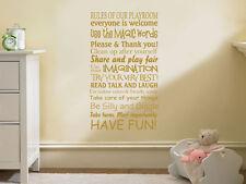 Playroom Muro ARTE Citazione, le regole del nostro Playroom, Bambini, Nursery parete trasferimento