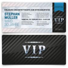 Einladungskarten zum Geburtstag VIP Karte Ticket Einladung mit UV-Lack edel