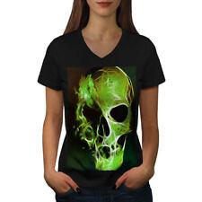 Green Flame Death Skull Women V-Neck T-shirt NEW | Wellcoda