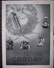 1938 CORDAY Orchidee Bleue Voyabe a Paris L'Ardente Nuit Tzigane PERFUME Ad