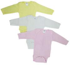 Bambini Girl's Yellow, White, Pink Rib Knit Pastel Long Sleeve Onezie 3-Pack