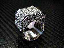 Mens Diamond Ring Round Cut 14K White Gold 8.6Cts Princess Cut Invisible Set