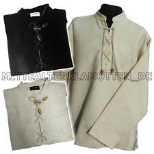 Schnürhemd S-XXXL edad media camisa la edad media con cordones camisa tejida de algodón