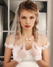 Cheap Short Wedding Bridal Veils Pearls Shoulder Length Lace Accessories+Comb