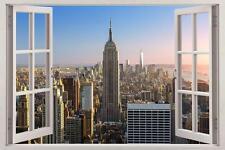 New York City Skyline NY 3D Window View Decal WALL STICKER Decor Art Mural H88