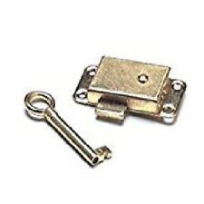 Brass plated wardrobe lock and key