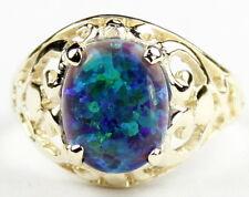 • R004, Created Blue Green Opal, 10k Yellow Gold Ladies Ring -Handmade