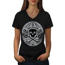 Pirate Tee Skeleton Skull Women V-Neck T-shirt NEW | Wellcoda