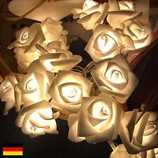 LED LICHTERKETTE KUNSTROSEN WEISS BATTERIE Deko Tischdeko Floristik Hochzeit DE