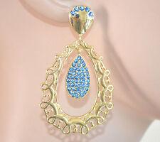ORECCHINI donna ORO dorati pendenti STRASS AZZURRI brillantini cristalli 970