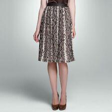 Jones New York Brown Multi Chiffon Python Pleated Skirt - MSRP $109