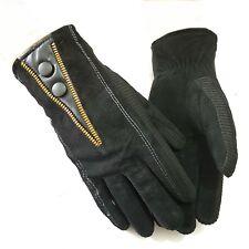 Herren WIldleder Handschuhe Lederhandschuhe Winter Herrenhandschuhe Warm Schwarz