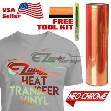 "Neo Chrome Orange Heat Transfer Vinyl HTV T-Shirt 20"" Wide Iron On / Heat Press"