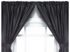 Carnation Home Fashions Vinyl Bathroom Window Curtain. 2 Panels with Tie Backs