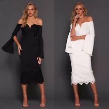 Elle Zeitoune Off Shoulder Lace Hem Cocktail Party Midi Flared Long Sleeve Dress