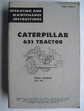 CATERPILLAR  631  TRACTOR  OPERATION & MAINTENANCE INSTRUCTIONS