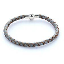 Lieblingsmensch® Armband Lederarmband 0,5cm geflochten Farbe: stahl metallic