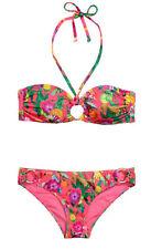 NUOVO H & M Bandeau Bikini Set fiori Leopard Colorato Taglia 34 36 38 con allacciatura al collo abnembar