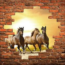 Sticker mural trompe l'oeil mur de pierre chevaux réf 852