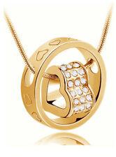 Damen Halskette mit Herz und Ring Anhänger 925 Silber 18 K Gold plattiert Zirkon