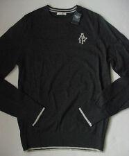 Nuevo con Etiquetas Abercrombie Fitch 3% Cachemira Polo Jersey Gris Gris Carbón