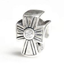 Sterling Silver Jesus Christ Christian Cross CZ  for European Charm Bracelets