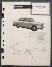 WOLSELEY 16/60 GIRLING 1961 Car Brakes Installation Maintenance Data Guide