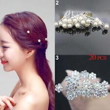 20x Wedding Flower Hair Pins Bridesmaid Crystal Diamante Pearl Bridal Clips JN