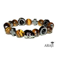 Swarovski Skull Crystal Men's Gemstone Stretch Bracelet Tiger 's Eye & Sardonyx