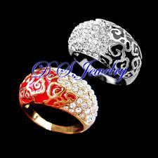 Elegant Clear Crystal Rhinestones Colorful Enamel Carved Cloudy Ring