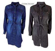 Womans Denim Vestido Camisa señoras Azul Negro 8 10 12 14 Jean Informales Mangas Largas