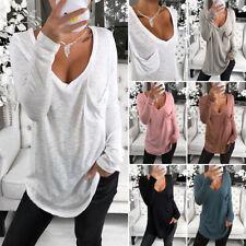 Plus Size Women Long Sleeve T Shirt V Neck Ladies Loose Blouse Tops S-3XL