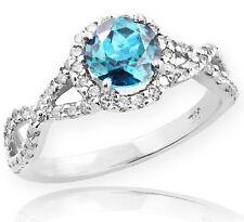 White Gold Aquamarine Birthstone Infinity Ring with Diamonds Engagement Wedding
