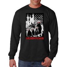 Bear Country Usa Flag Patriotic America Funny Humor Long Sleeve T-Shirt