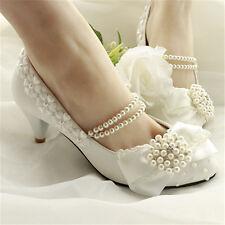 Femme Chaussures Escarpins de Mariage Elégant Perle Mariée Talon Plat /3/5CM