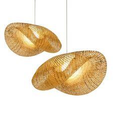 Bamboo Wicker Rattan Wave Shade Pendant Light Fixture Suspension Home Decor New