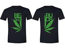 Best Buds Couples Mens T-Shirts Weed Stoner Pot Leaf Marijuana Kush Shirts Black