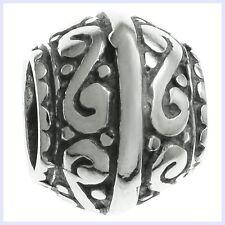 925 Sterling Silver Swirl Dots Barrel Flower Bead for European Charm Bracelet